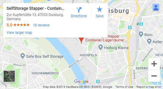 Karte SelfStorage Stapper Duisburg - Self-Storage
